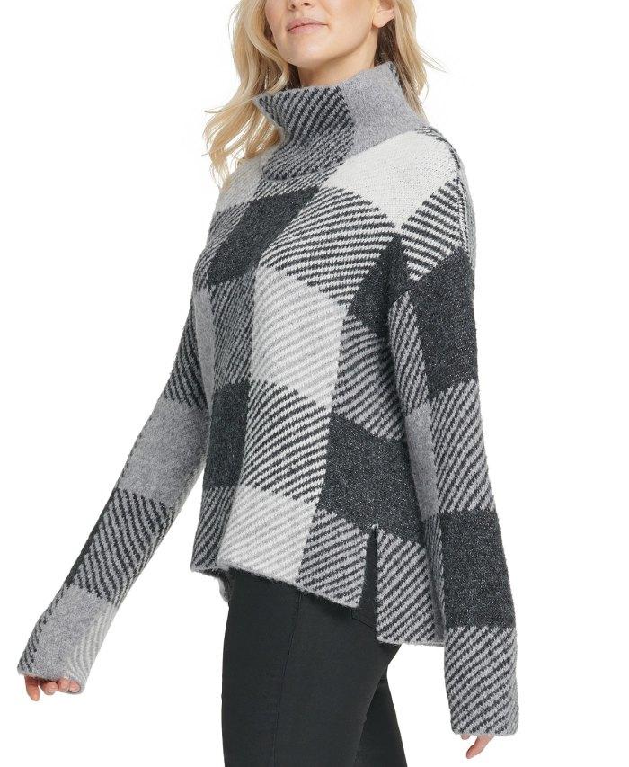 DKNY Striped High-Low Hem Sweater