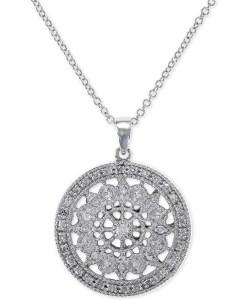 EFFY Diamond Disc Pendant Necklace (1:4 ct. t.w.) in 14k White Gold
