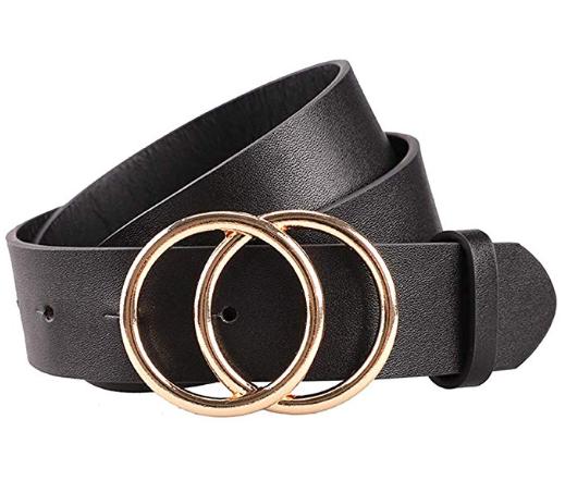 Earnda Women's Faux Leather Belt (Black)