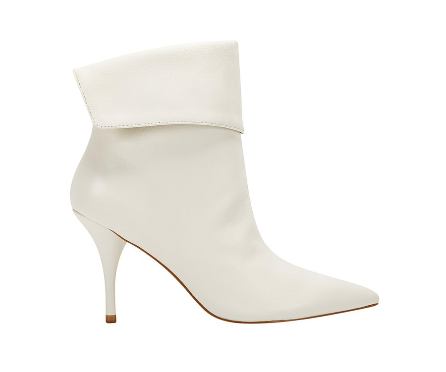 Elizabeth Sulcer Boot Collection - Fifi Pointy Toe Bootie in Ivory Leather