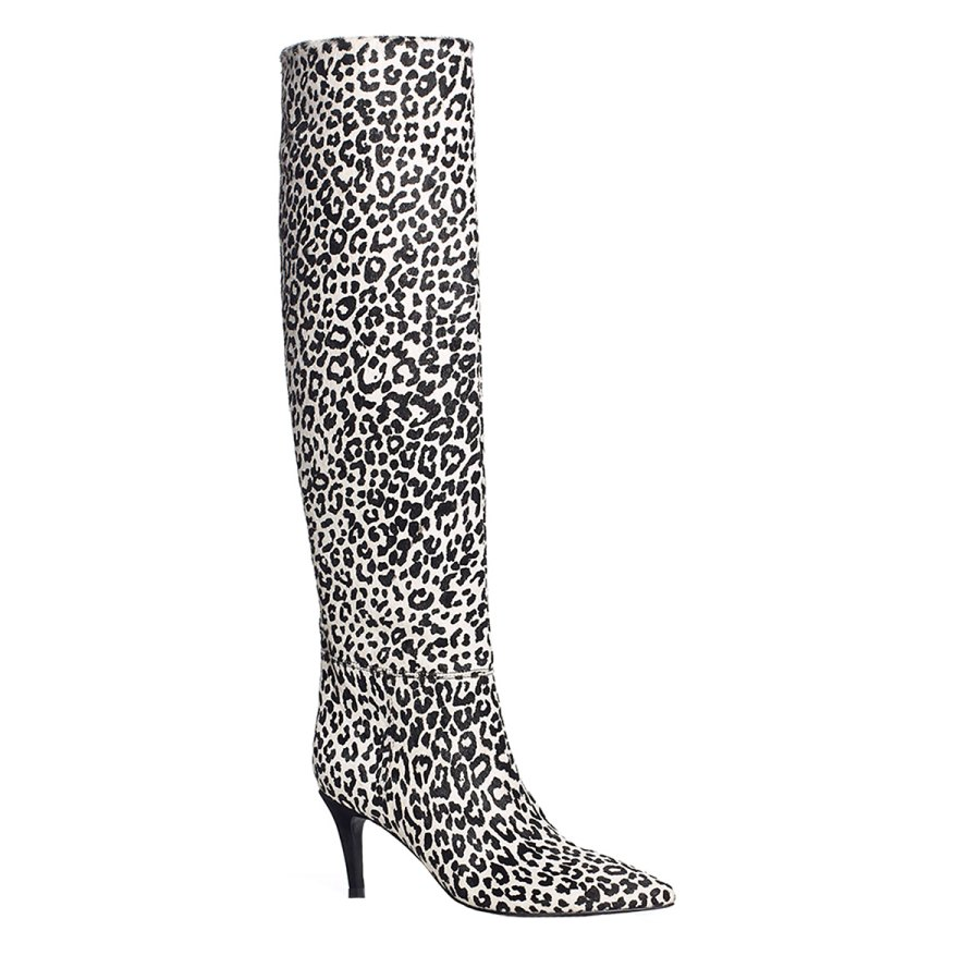Elizabeth Sulcer Boot Collection - Ginniely Tall Boot in White Leopard Print