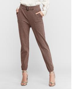 High Waisted Utility Knit Jogger Pant (Cafe Au Lait)