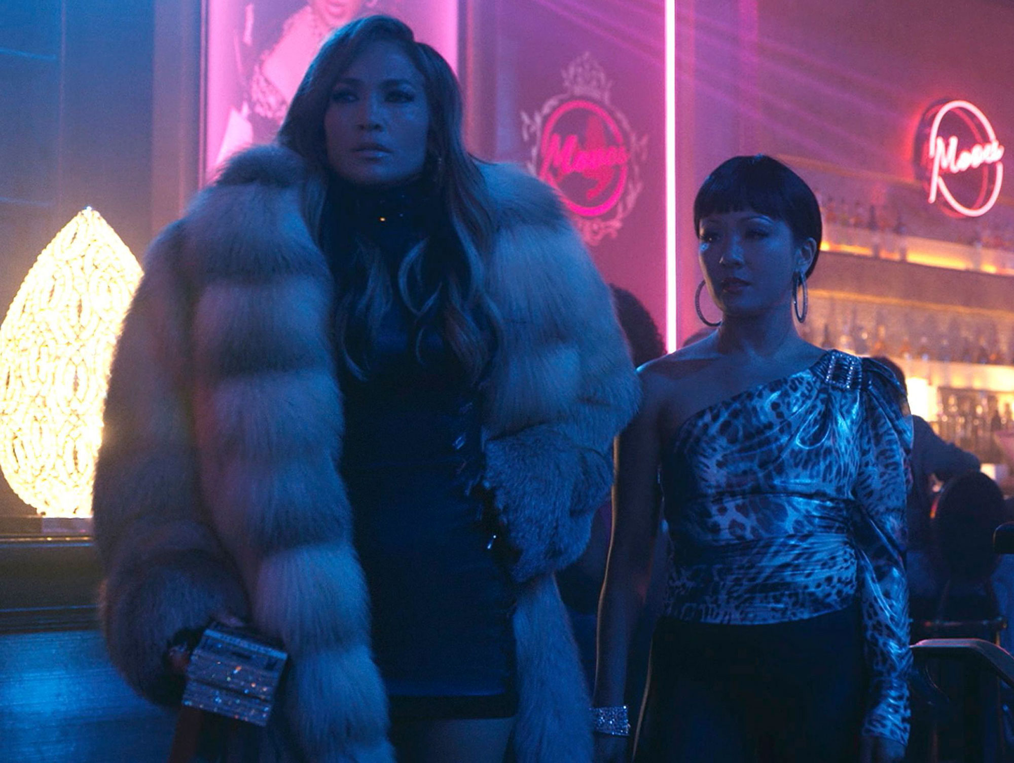 Jennifer Lopez as Ramona and Constance Wu as Destiny in 'Hustlers
