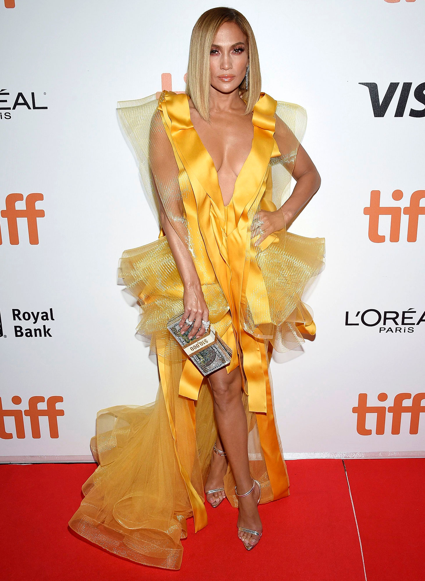 Jennifer Lopez Premiere for Hustlers Red Carpet Yellow Dress