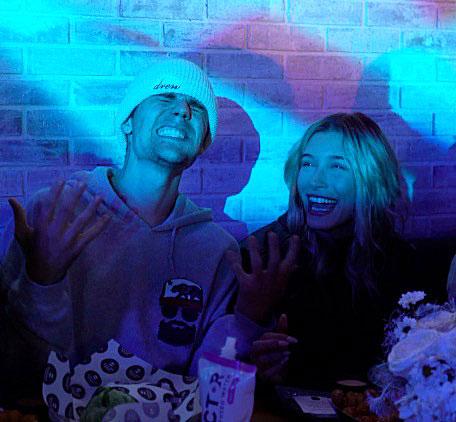 Justin Bieber and Hailey Baldwin at Black Star Burger LA