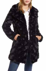 Kenneth Cole New York Textured Faux Fur Coat black