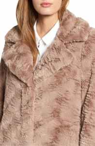 Kenneth Cole New York Textured Faux Fur Coat brown closeup