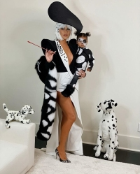 Khloe Kardashian and Her Daughter True Dress as Cruella de Vil and a Dalmatian for Halloween 2019