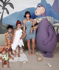 Kim Kardashian and Her Kids Dress Up as Flintstone Family for Halloween 2019