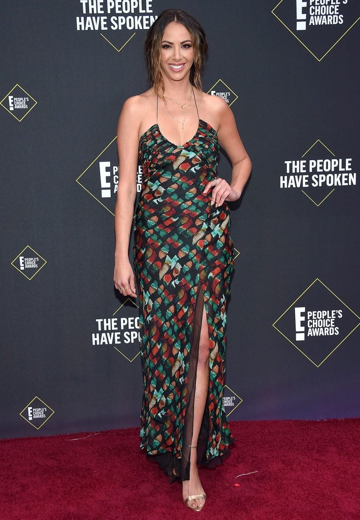 Kristen Doute 45th Annual People's Choice Awards Pattern Dress Red Carpet