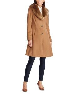 Lauren Ralph Lauren Faux-Fur-Collar Walker Coat (Vicuna)
