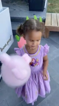 Luna in Princess Dresses Eating Cotton Candy