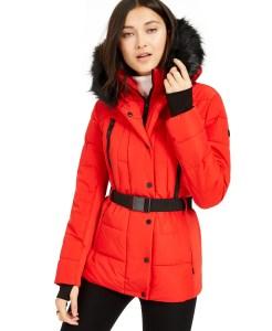 MICHAEL Michael Kors Active Belted Faux-Fur-Trim Puffer Coat (Red)
