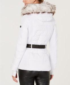 MICHAEL Michael Kors Active Belted Faux-Fur-Trim Puffer Coat (White)