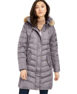 MICHAEL Michael Kors Faux-Fur-Trim Hooded Down Puffer Coat, Created For Macy's (Nickel)