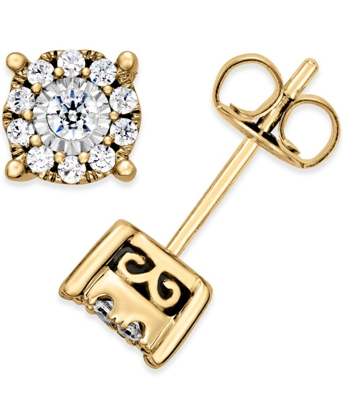 Aretes de diamantes de Macy's (1: 3 qt. Total) (oro de 14 k)