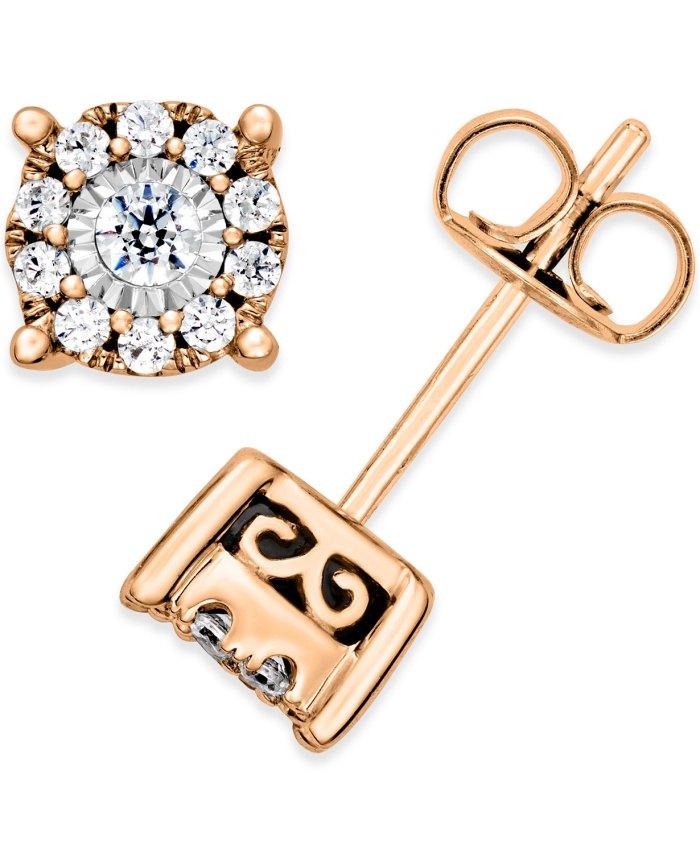 Aretes de diamantes de Macy's (1: 3 qt. Total) (oro rosado)