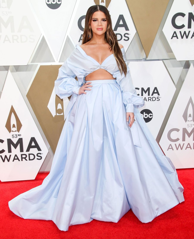 Maren Morris 2019 CMA Awards Arrival Red Carpet Baby Bump