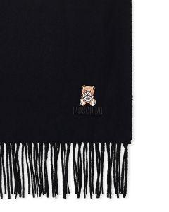 Moschino Bear Logo Wool Scarf black logo