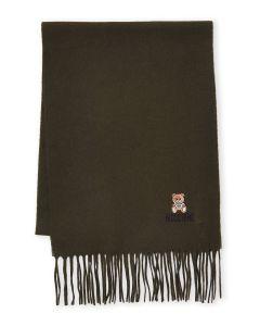 Moschino Bear Logo Wool Scarf olive