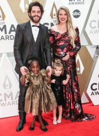 Thomas Rhett, Pregnant Lauren Akins and Daughters Are Family Goals on CMA Awards 2019 Red Carpet