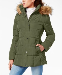 Tommy Hilfiger Hooded Faux-Fur-Trim Puffer Coat, Created For Macy's (Army Green)
