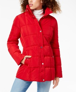 Tommy Hilfiger Hooded Faux-Fur-Trim Puffer Coat, Created For Macy's (Crimson)