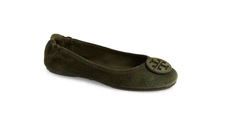 Tory Burch 'Minnie' Ballet Flat green