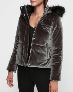 Velvet Quilted Puffer Coat (front)