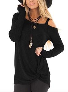 Yidarton Women's Long Sleeve Twist Knot Tunic black