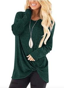 Yidarton Women's Long Sleeve Twist Knot Tunic green