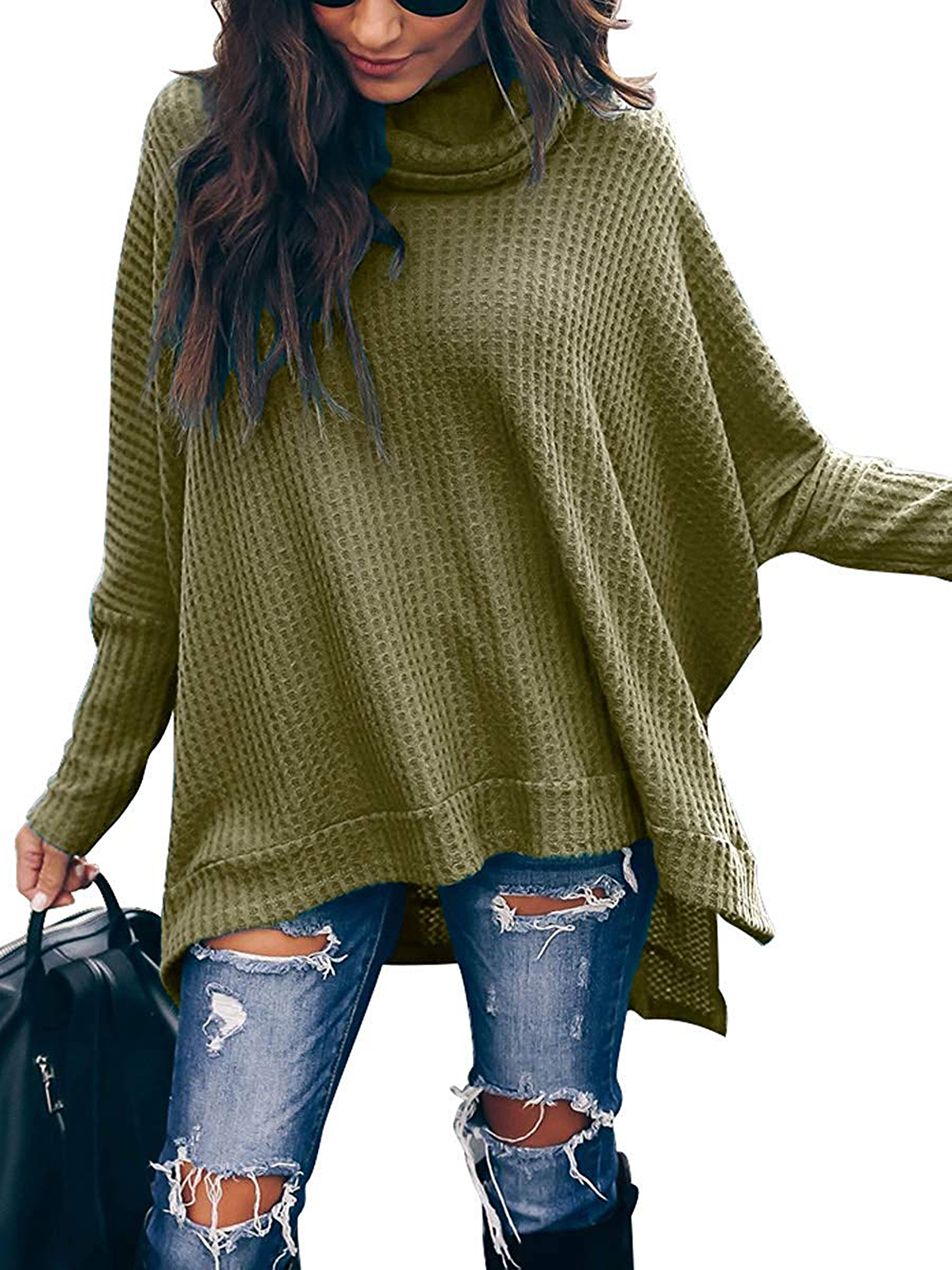 Caracilia Turtle Cowl NeckWaffle Knit Pullover Sweater