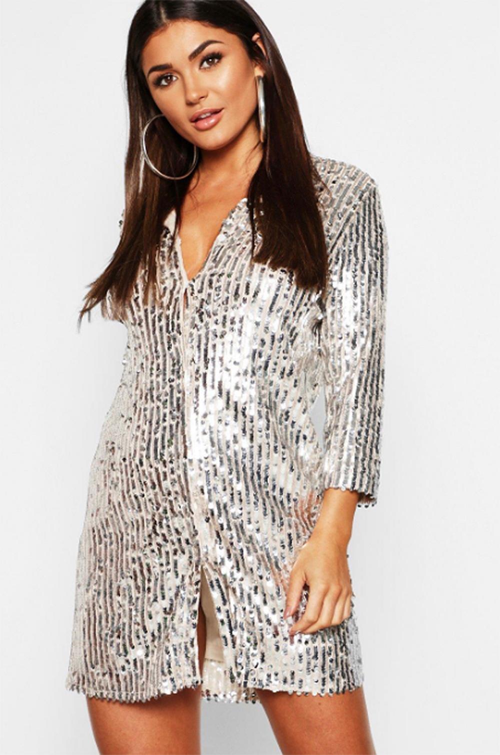 Sequin Oversized Shirt Dress