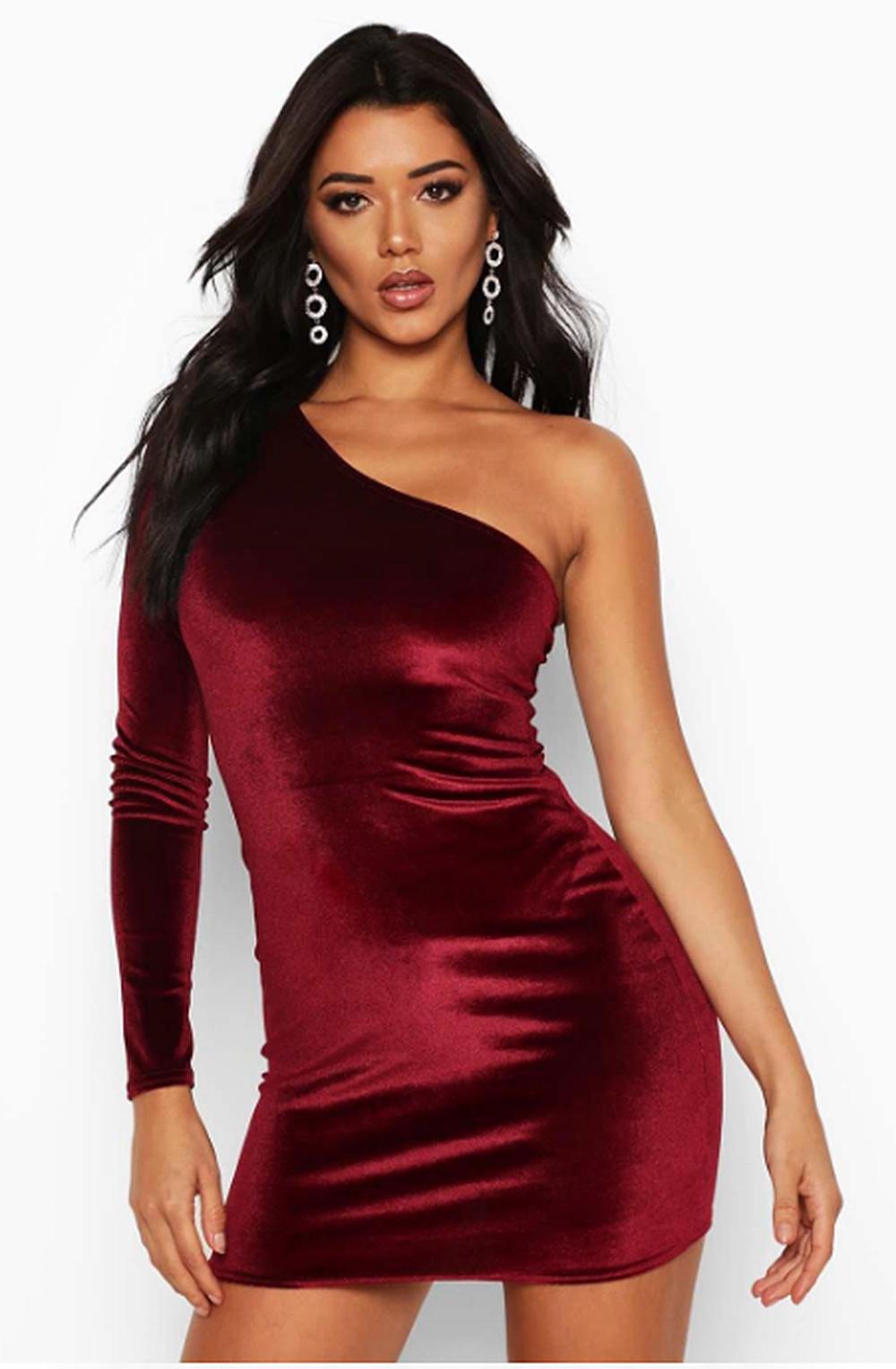 Velvet One Shoulder Bodycon Dress