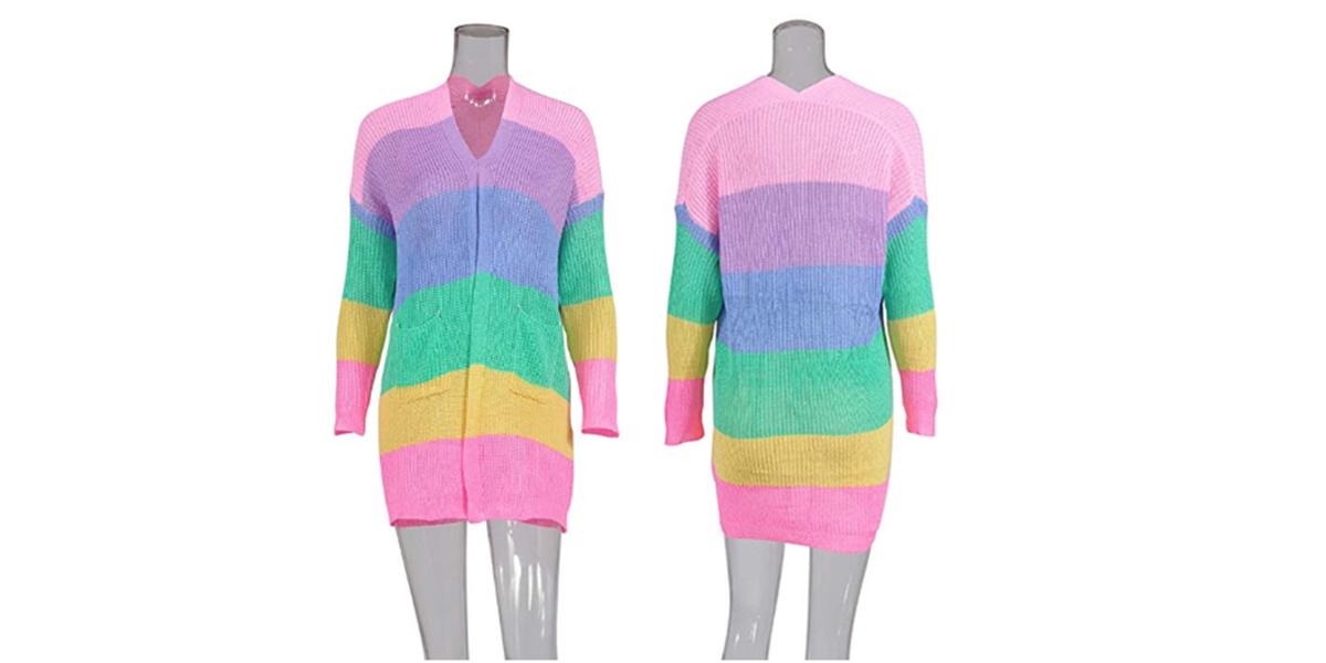 ECOWISH Womens Color Block Striped Draped Kimono Cardigan