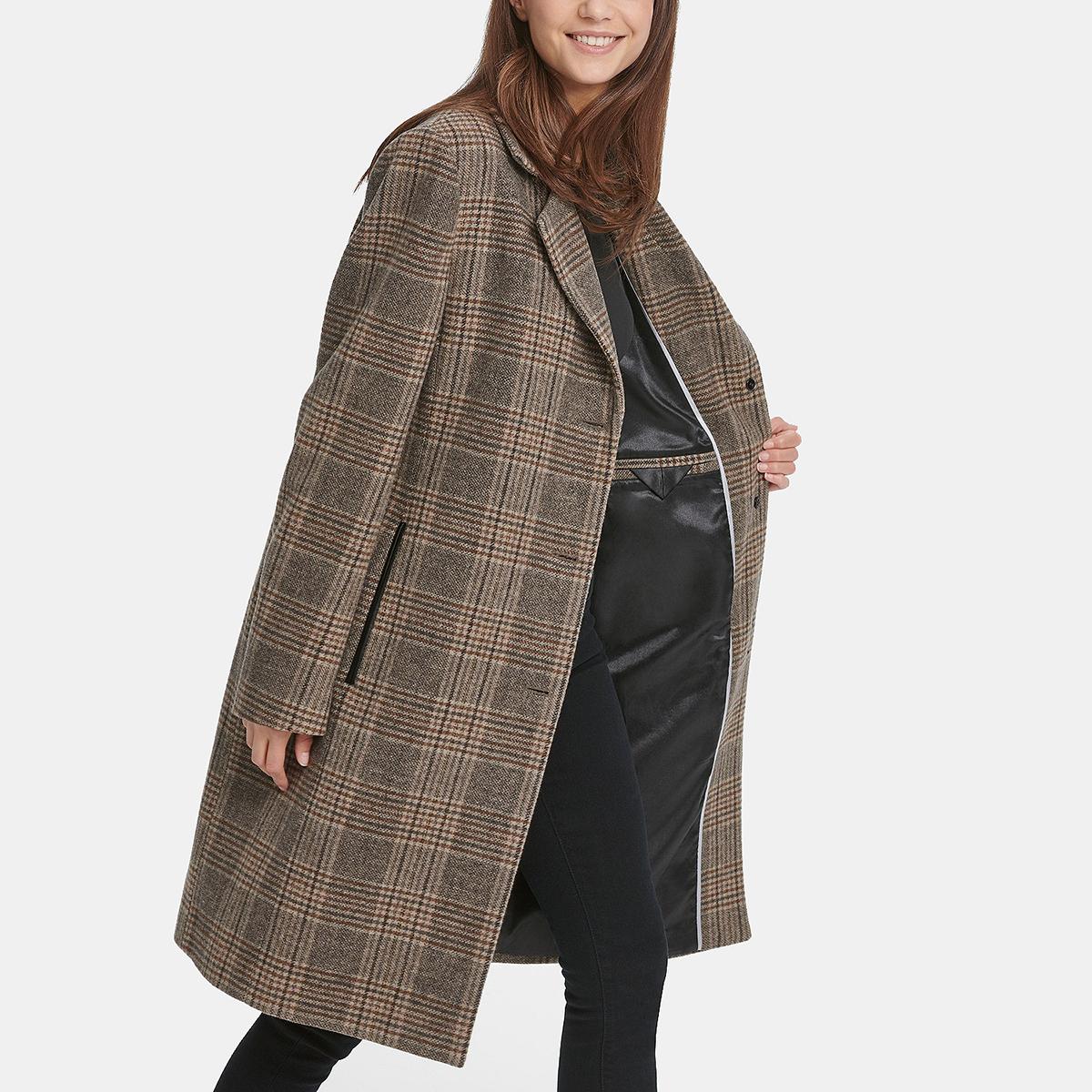 DKNY Plaid Faux-Leather-Trim Walker Coat