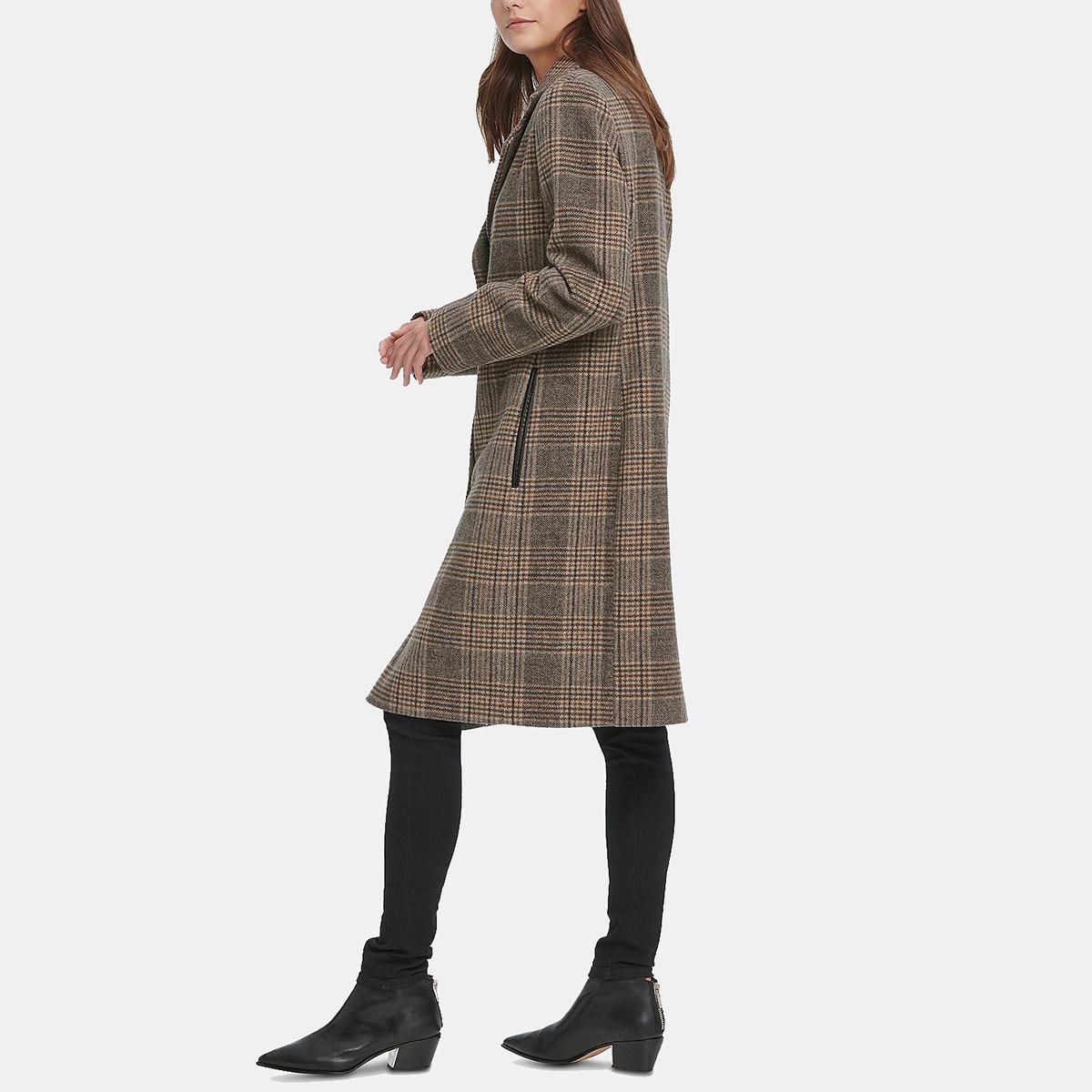 DKNY معطف منقوشة فو جلدية تريم ووكر