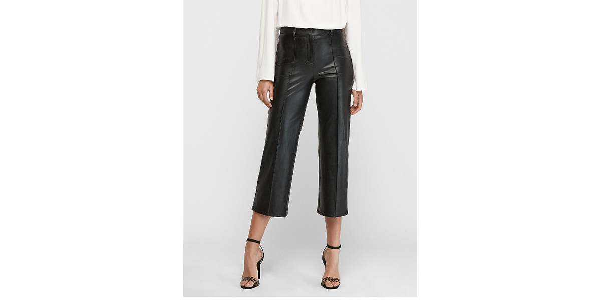 High Waisted Vegan Leather Straight Cropped Pant