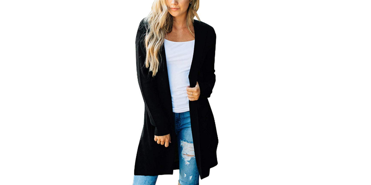 MEROKEETY Women's Long Sleeve Open Front Cardigan