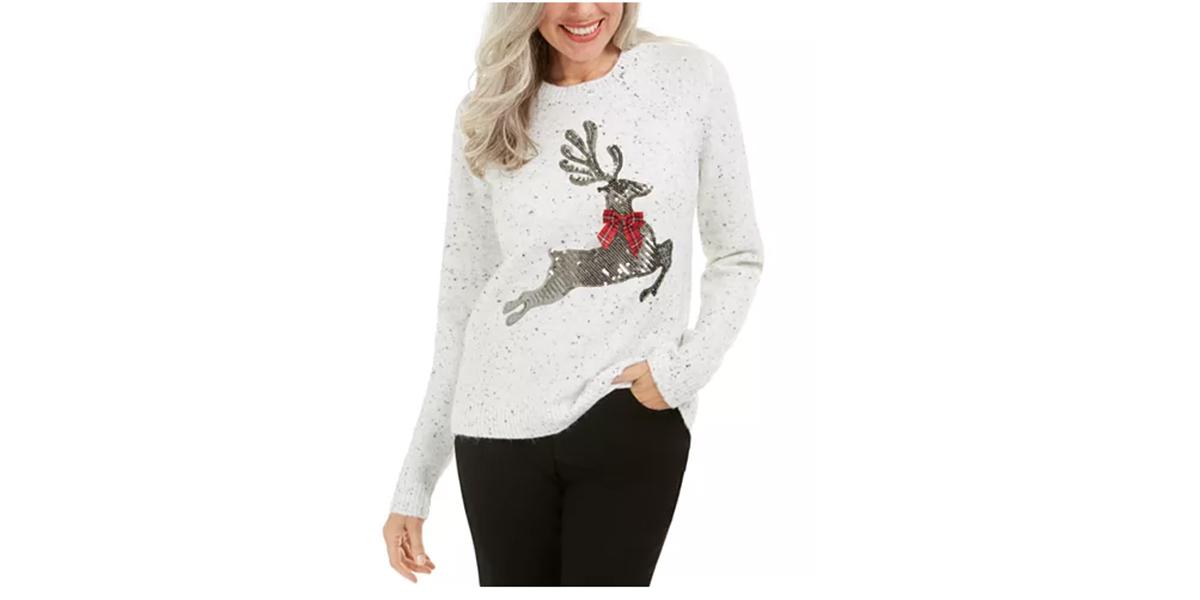 Karen Scott Sequined Reindeer Sweater, Created For Macy's