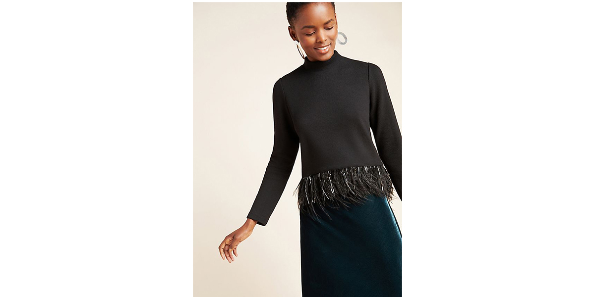 Saylor NYC Milana Feather-Trimmed Sweater