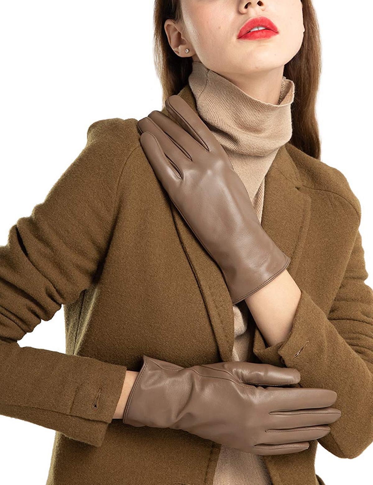 FEIQIAOSH Super-Soft Leather Winter Gloves