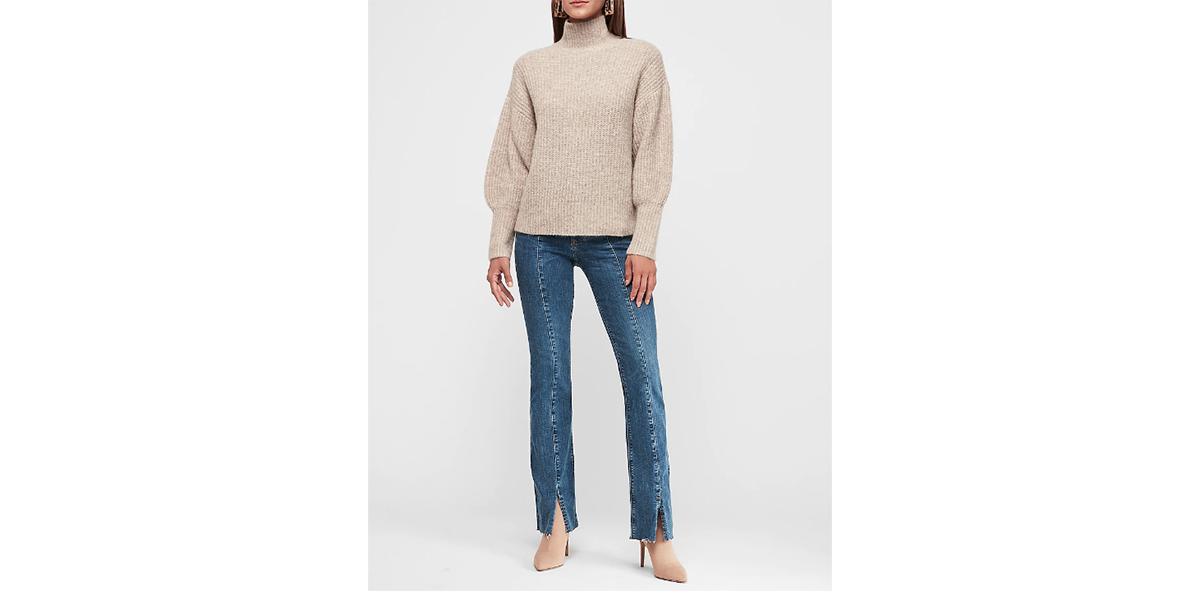 Balloon Sleeve Mock Neck Tunic Sweater