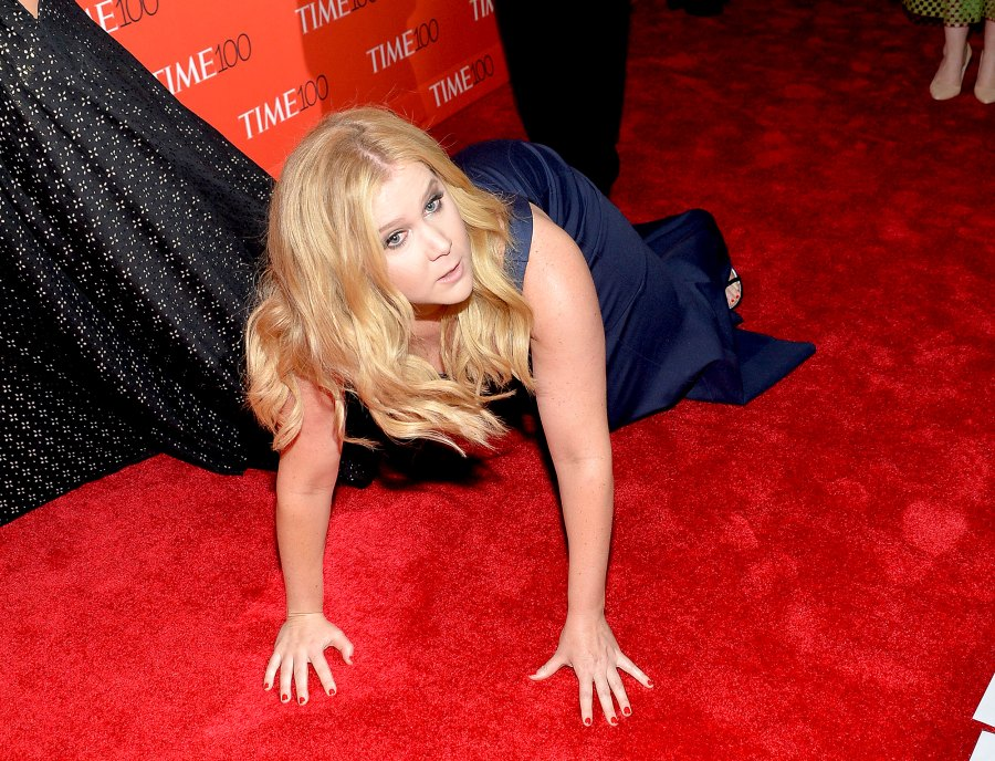 Amy-Schumer-trips-in-front-of-Kanye-West-and-Kim-Kardashian-West