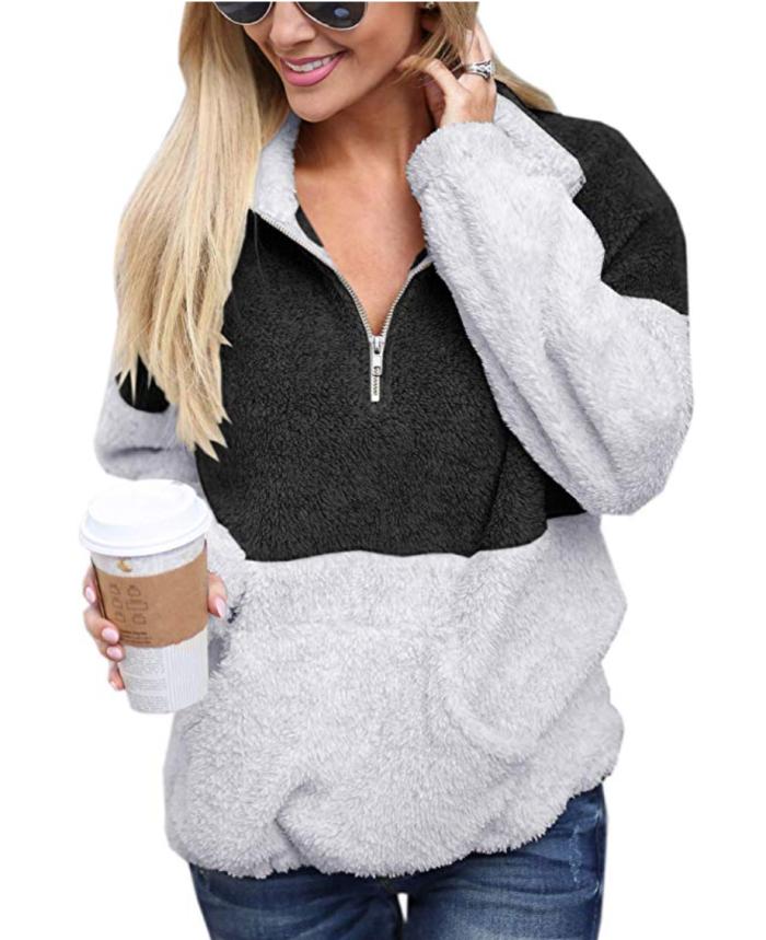 Jersey de felpa borrosa para mujer Angashion