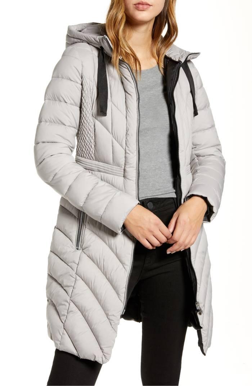 Bernardo Packable Hooded Walker Coat (Opal Grey)