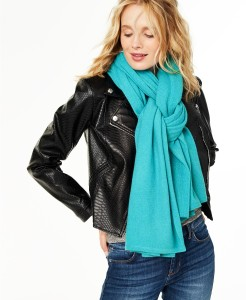 Charter Club Oversized Cashmere Scarf (Blue Heather)