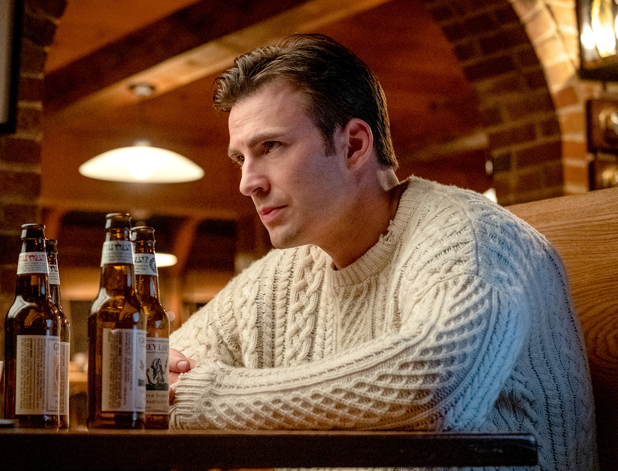 Chris Evans Knives Out Sweater dog 1
