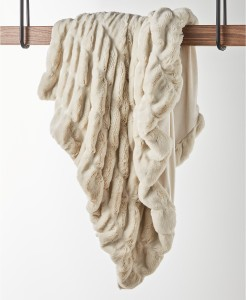 Hotel Collection Carved Faux-Fur Throw (Ivory)