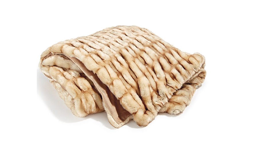 Hotel Collection Carved Faux-Fur Throw